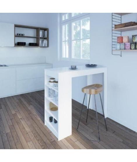 CHILI Table bar de 2 a 4 personnes style contemporain blanc mat - L 115 cm