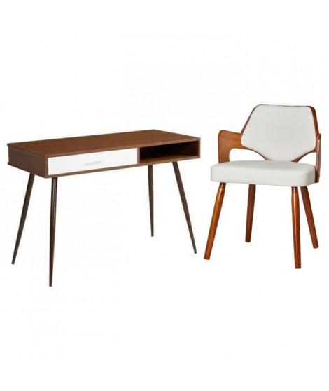 Ensemble Bureau FIFTIES décor noyer pieds en métal + chaise de salle a manger KIRUNA en bois bambou blanc