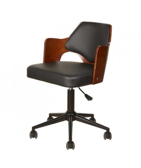 KIRUNA Chaise de bureau en simili noir - Accoudoirs bois - Style contemporain - L 49 x P 51 cm