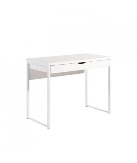 HEXA Bureau contemporain en métal et MDF mélaminé blanc laqué - L 100 cm
