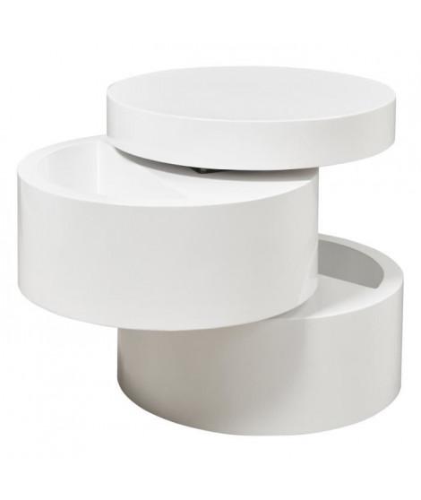 VIGAN Table basse ronde style contemporain blanc mat - L 50 x l 50 cm