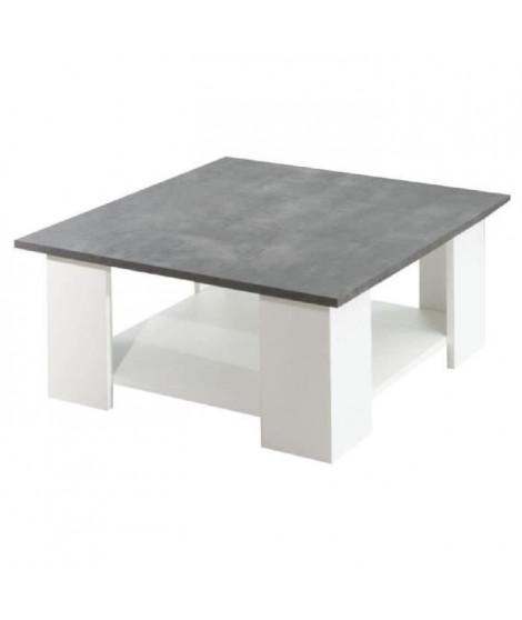 LIME Table basse style contemporain mélaminée blanc et décor béton - L 67 x l 67 cm