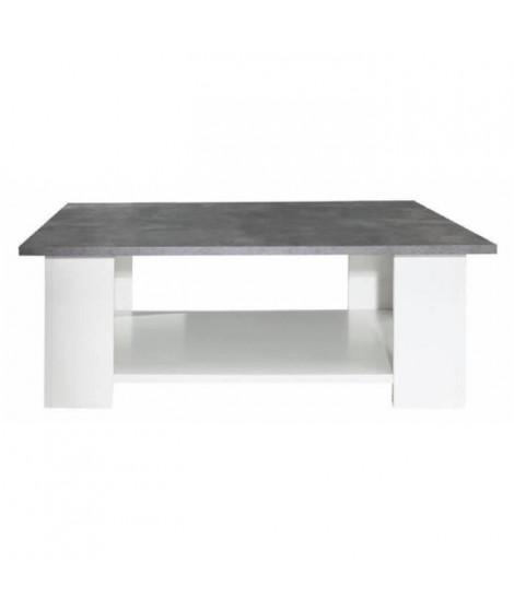 LIME Table basse carrée style contemporain blanc mat et décor béton - L 89 x l 89 cm
