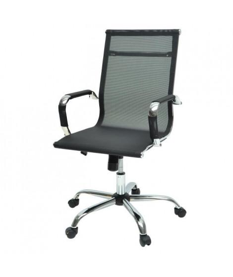 LAW Chaise de bureau - Tissu noir - Style contemporain - L 57 x P 77 cm