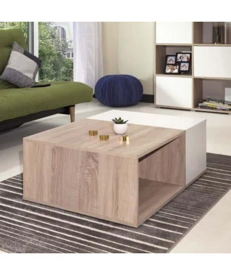 MEGA Table basse style contemporain mélaminée décor chene et blanc - L 89 x l 67 cm