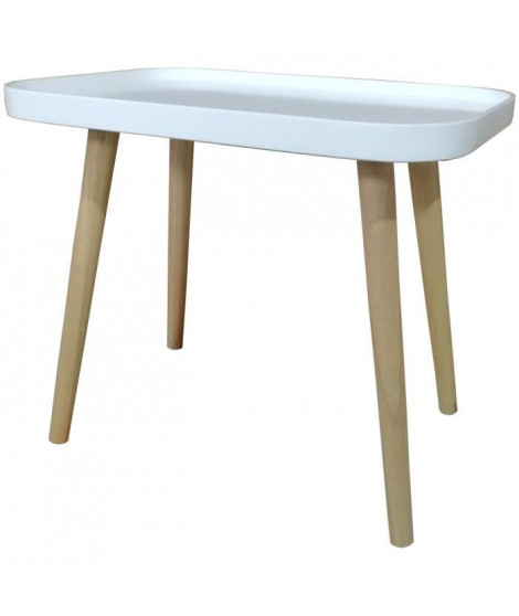 GALET Table basse style contemporain blanc laqué mat - L 50 x l 34 cm