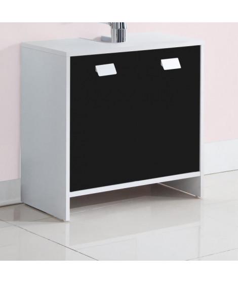 TOP Meuble sous-vasque L 60 cm - Blanc et noir mat