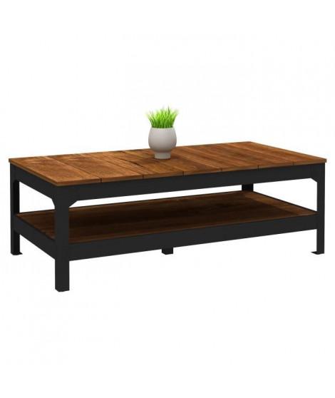 INDUSTRIE Table basse style industriel effet bois et noir mat - L 117 x l 59 cm