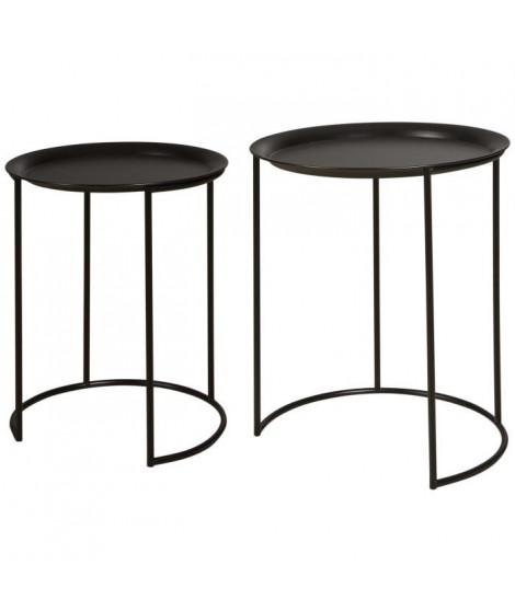 FRESH Set de 2 Tables basses style contemporain métal noir - L 40 x l 40 cm et L 35 x l 35 cm