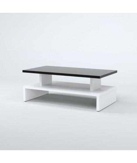 AFTER Table basse style contemporain noir et blanc satiné - L 97 x l 51 cm