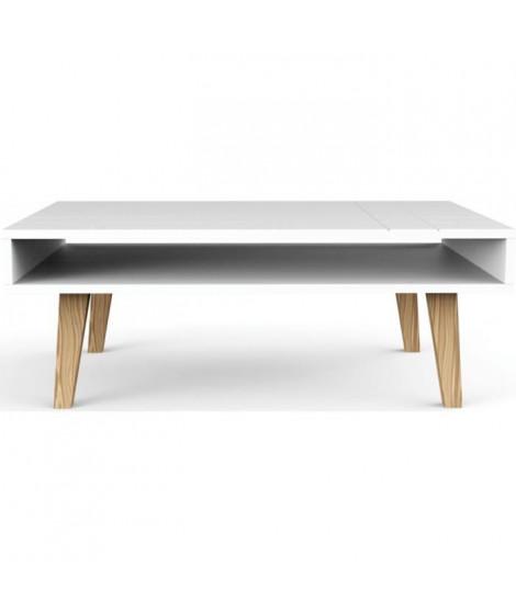 LONDON Table basse scandinave laquée blanc mat - L 100 x l 60 cm