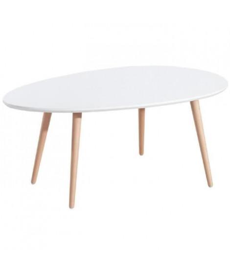STONE Lot de 2 tables basses - Blanc laqué