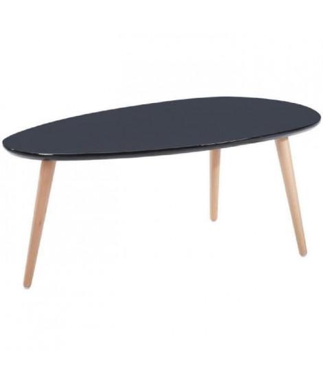 STONE Lot de 2 tables basses - Blanc et noir laqué