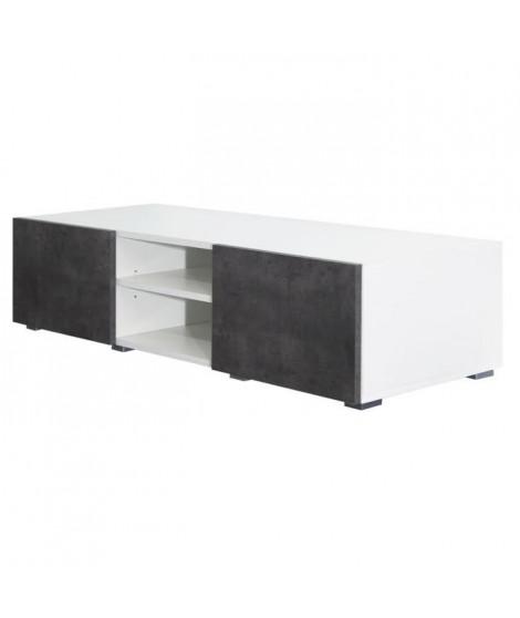 LIME Meuble TV contemporain blanc et décor béton - L 140 cm