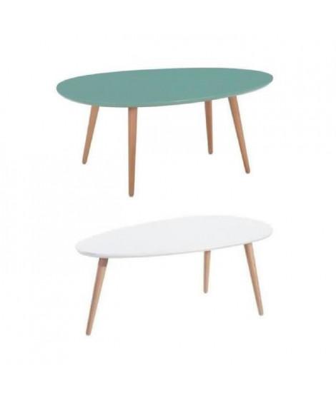 STONE Lot de 2 tables basses - Menthe et blanc laqué
