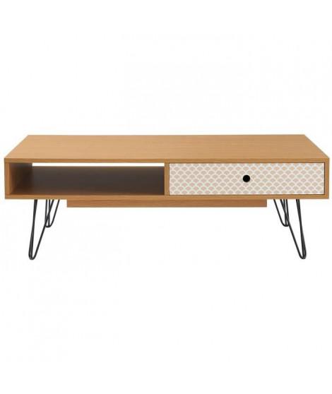 COLETTE Table basse vintage décor chene et imprimé + pieds métal noir laqué - L 110 x l 55 cm