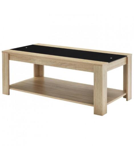 DAMIA Table basse style contemporain décor chene et noir mat - L 110 x l 55 cm