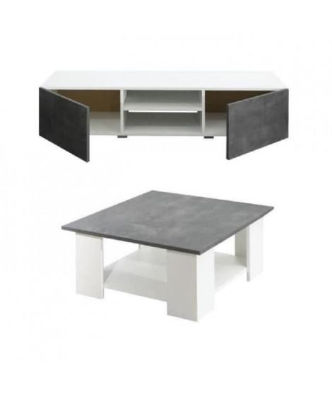 LIME Salon Complet - Blanc et décor béton