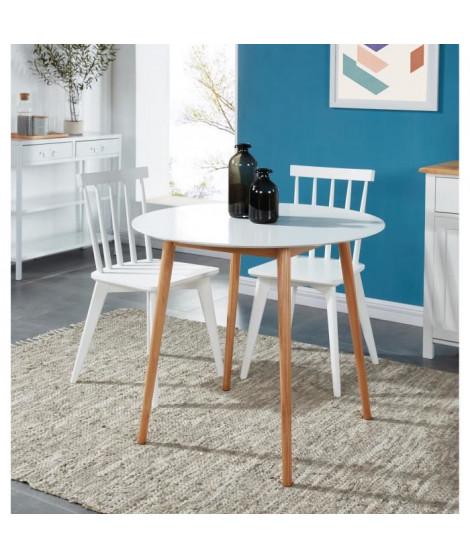 ANNETTE Table a manger ronde de 2 a 4 personnes style scandinave en bois massif et MDF laqué blanc satiné - L 87 x l 87 cm