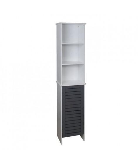 LINDA Colonne de salle de bain L 34 cm - Blanc et gris mat