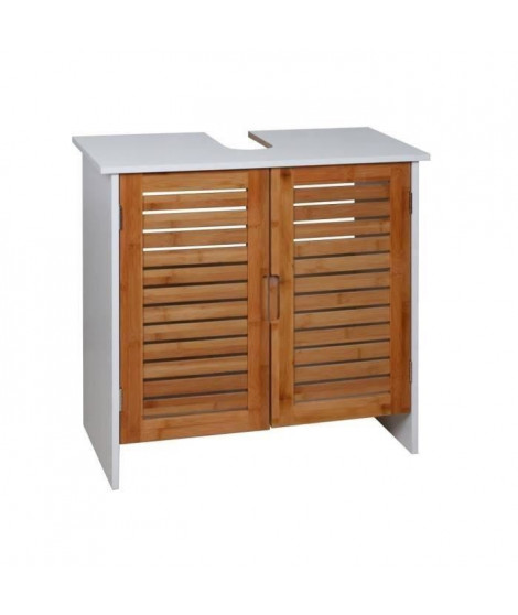 LINDA Meuble sous-lavabo L 60 cm - Blanc mat et décor bois