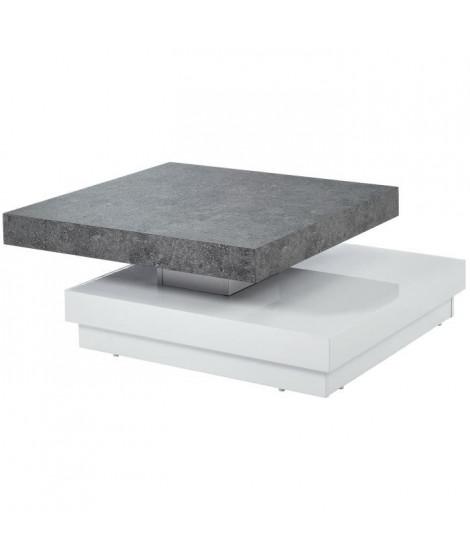 VEGAS Table basse pivotante contemporain effet béton et blanc laqué brillant - L 75 cm