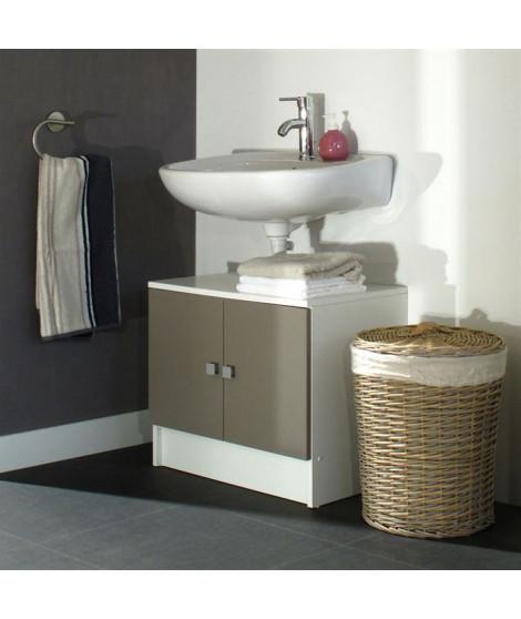 GALET Meuble sous lavabo L 60 cm - Blanc et taupe mat