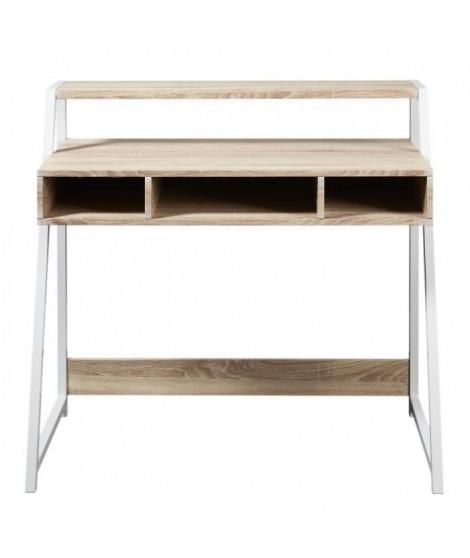 OLGA Bureau scandinave mélaminé décor chene clair + pieds métal blanc - L 100 cm