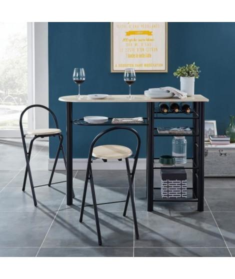 FIRST Ensemble table bar et tabourets contemporain en métal laqué noir et MDF revetu de PVC décor chene mat - L 119 cm