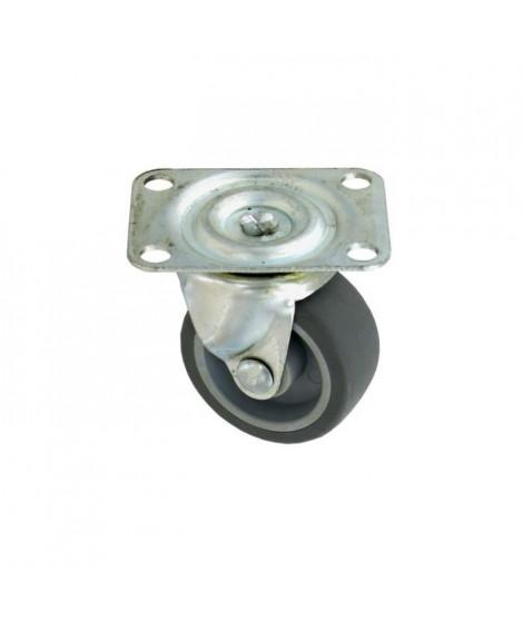 Roulette a platine pivotante - Ø 35 mm - Roue caoutchouc - Gris