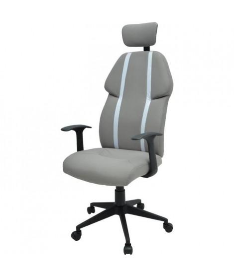 BUZZ Chaise de bureau - Simili et tissu gris - Style urbain - L 63 x P 67 cm