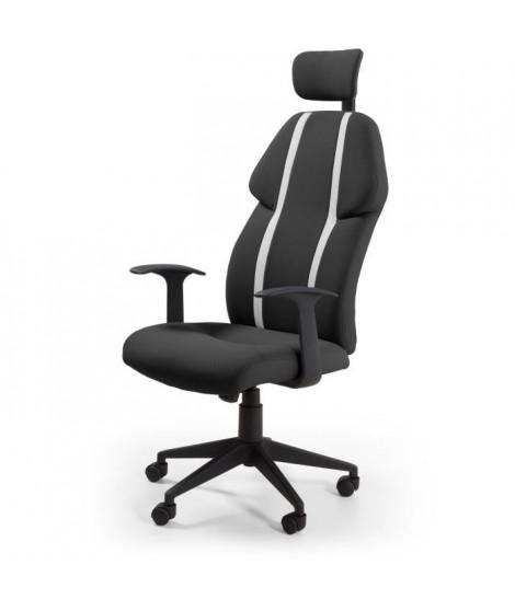 BUZZ Chaise de bureau - Simili et tissu noir - Style urbain - L 63 x P 67 cm