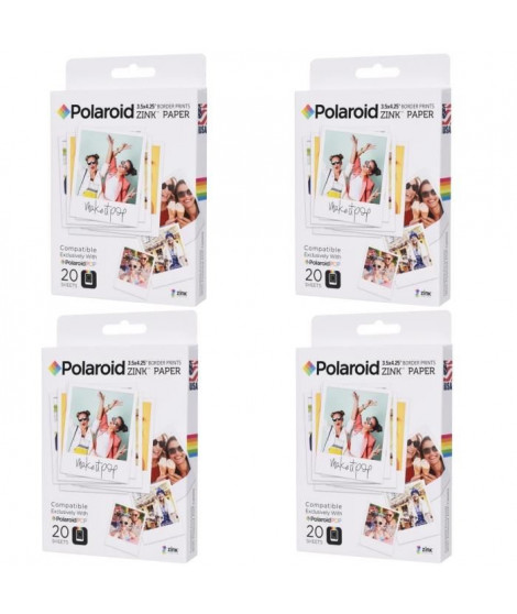 "Pack 4 POLAROID POLZL3X420 Papier photo 3""x4"" pour appareil photo Polaroid POP"