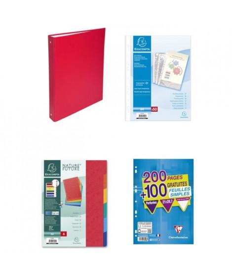 Pack Classement Rouge - Classeur - Feuilles