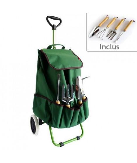Chariot de jardin MUNDUS + 4 outils : griffe, fourche a main, transplantoir et désherbeur a main