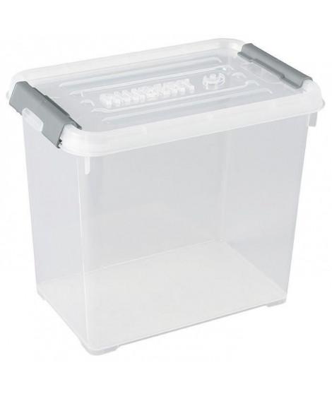 ALLIBERT Boîte de rangement Handy Plus - Clips gris - Couvercle transparent - 9 L