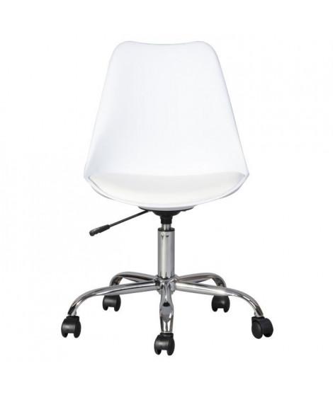 BLOKHUS Chaise de bureau - Simili blanc - Style contemporain - L 52,5 x P 52,5 cm
