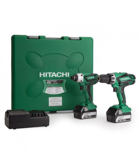 HITACHI Pack perceuse-visseuse a percussion KC18DGL & visseuse a chocs DV18DGL - Livré avec 2 batteries 18 V