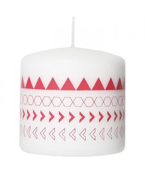 LE CHAT Bougie cylindrique - Ø 7,8 x H 7,5 cm - Blanc avec décor rose corail