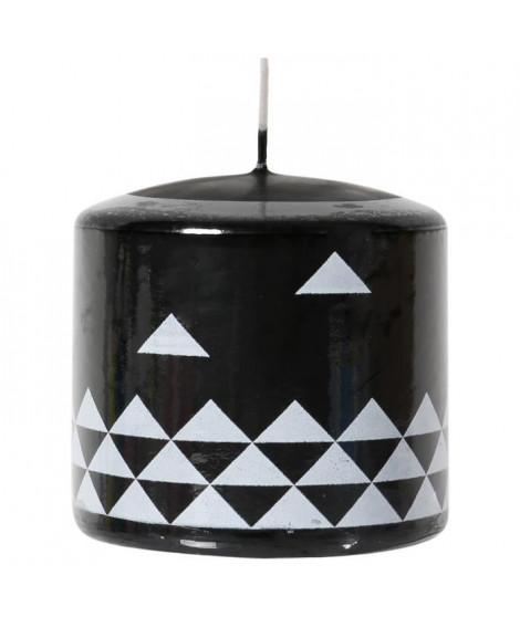 LE CHAT Bougie cylindrique - Ø 7,8 x H 7,5 cm - Blanc avec décor noir