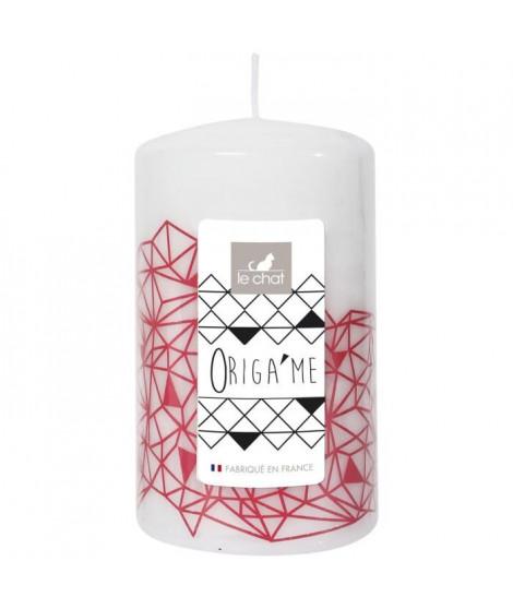 LE CHAT Bougie cylindrique - Tete plate - Ø 6,8 x H 11,5 cm - Blanc avec décor rose corail