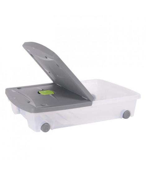 EDA PLASTIQUE Coffre de rangement dessous de lit 50 L avec roulettes - Naturel - 77,5 x 59 x 16,5 cm