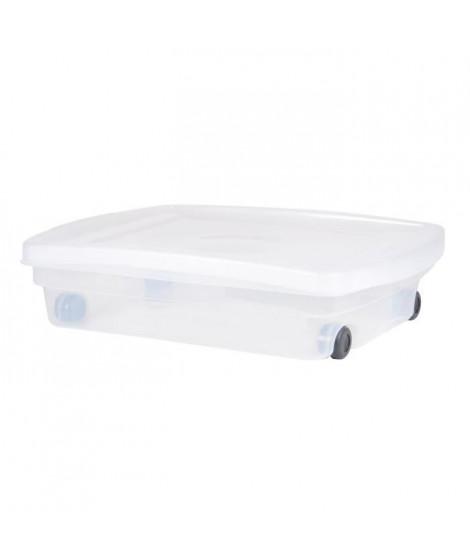 EDA PLASTIQUE Coffre de rangement dessous de lit 40 L avec roulettes - Naturel - 68 x 48 x 17,5 cm