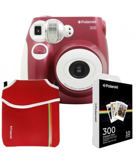 POLAROID PIC300 Rouge Appareil photo instantané compact + Etui néoprene Rouge + 10 feuilles