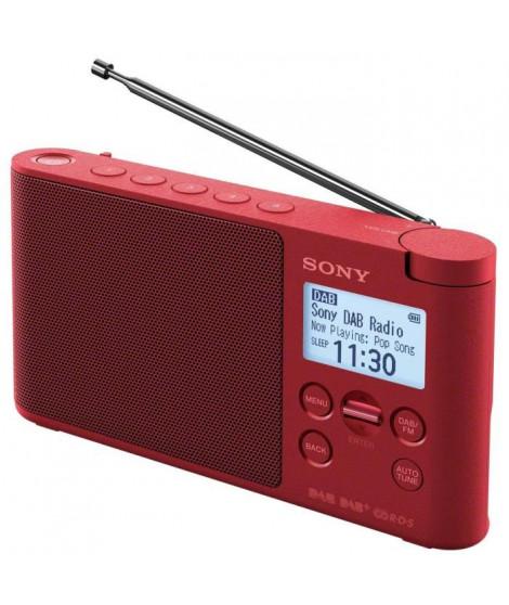 SONY - Radio portable DAB/DAB+ - Préréglages directs - Réveil et mise en veille programmable - Rouge