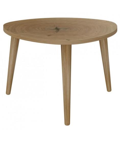 NATURE Table basse triangulaire scandinave effet tronc d'arbre - L 60 x l 60 cm