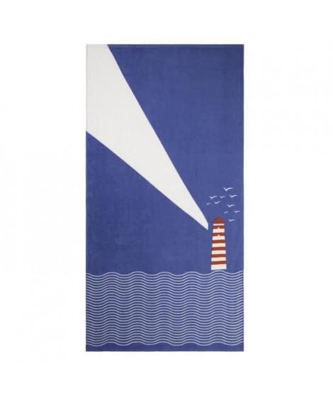 JULES CLARYSSE Drap de plage imprimé Seaside - 100% coton - 90x170 cm - Bleu