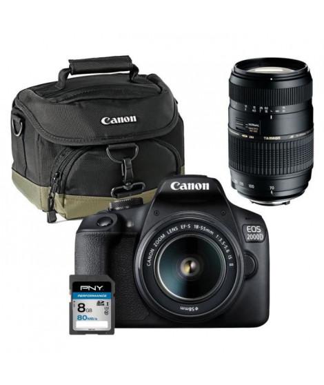 CANON EOS 2000D Appareil photo Reflex 24,1 MP + Objectif 18-55mm + Objectif Tamron 70-300mm + Carte mémoire SDHC 8Go + Sac Canon