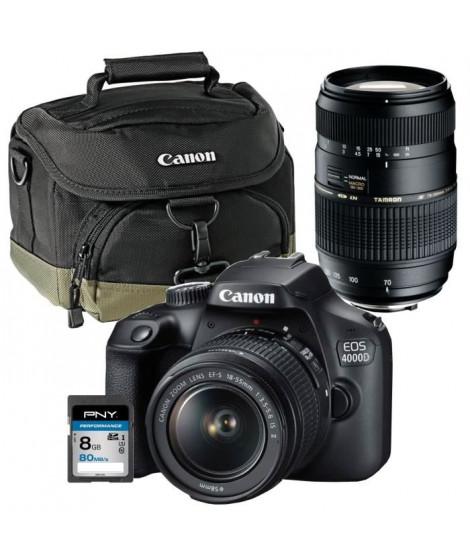 CANON EOS 4000D Appareil photo Reflex 18 MP + Objectif 18-55mm + Objectif Tamron 70-300mm + Carte mémoire SDHC 8Go + Sac Canon