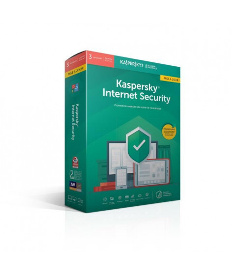 KASPERSKY Internet Security 2019 mise a jour, 3 postes, 1 an